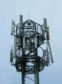Mobile phone coverage is provided by masts