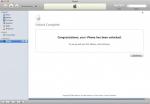 iPhone Unlocking: Congratulations Message in iTunes
