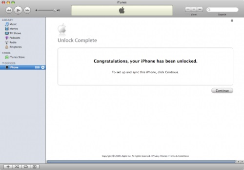 You'll get this message in iTunes once your iPhone has been unlocked.