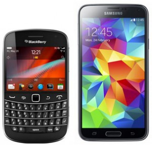 BlackBerry Bold and Galaxy S5