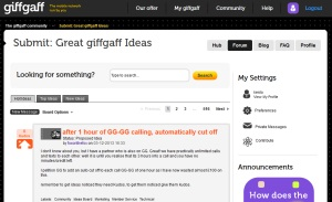 Giffgaff's Community Ideas Board