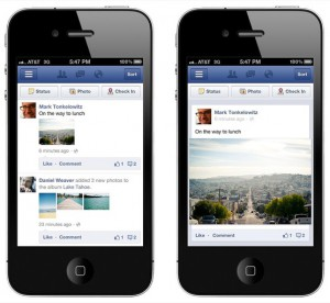 Facebook Mobile News Feed - Old and New