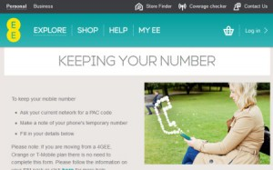 Transfer Phone Number to EE