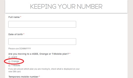 Providing your PAC Code to Orange