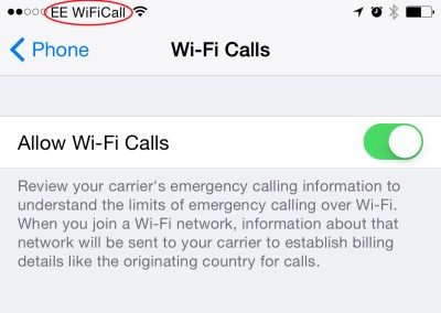 iPhone on EE Wi-Fi Calling