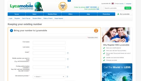 Providing your PAC Code to Lycamobile