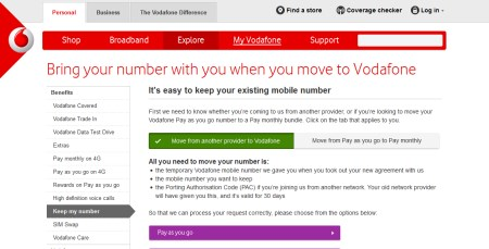 Providing your PAC Code to Vodafone
