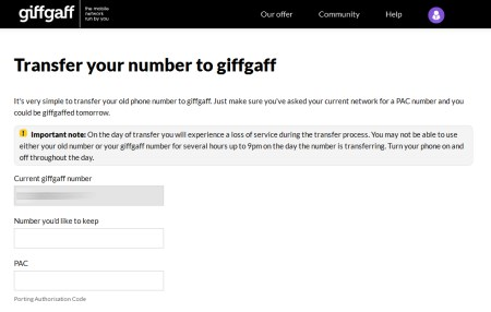 Providing your PAC Code to giffgaff