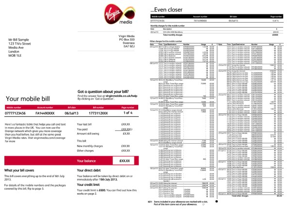 Virgin Mobile Example Bill