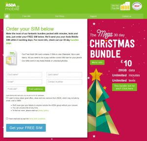 ASDA Mobile Order SIM Card Christmas 2016
