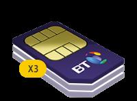 3x BT 2GB Family SIM Card