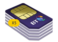 5x BT 2GB Family SIM Card