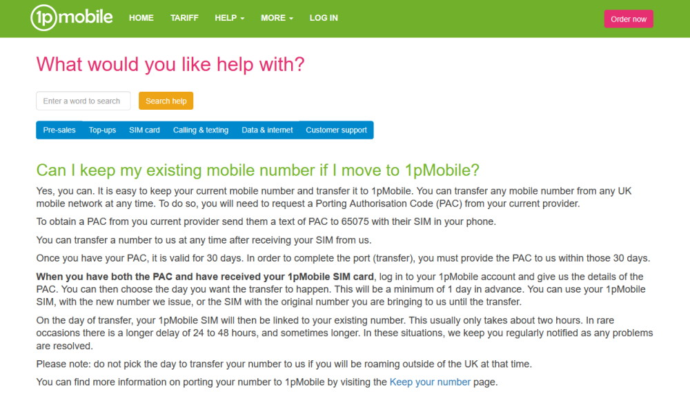 Providing your PAC Code to 1pMobile
