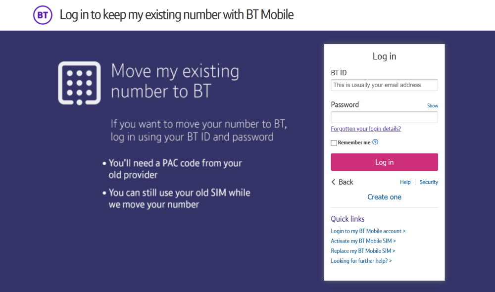 Providing your PAC Code to BT Mobile