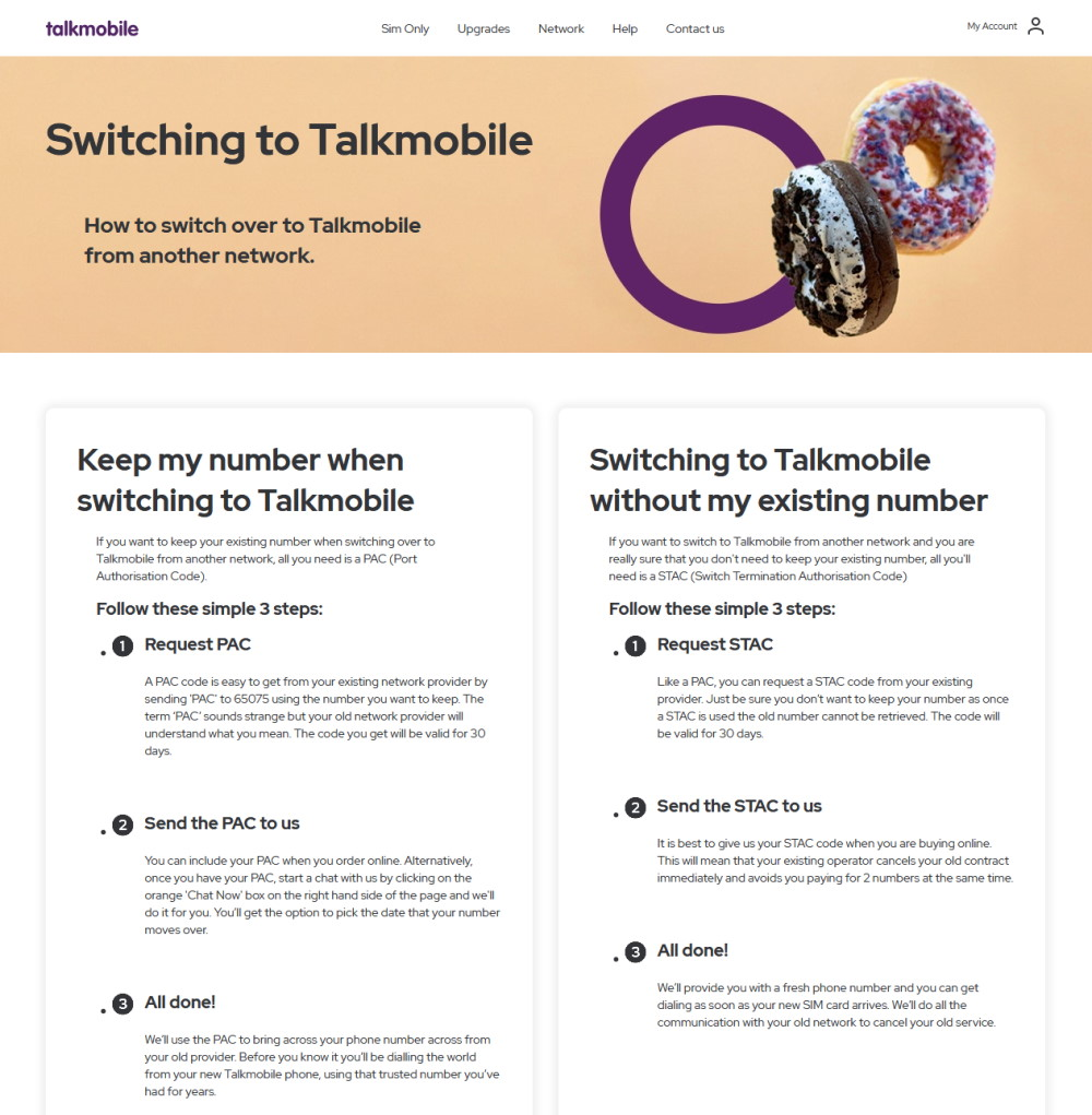Providing your PAC Code to Talkmobile